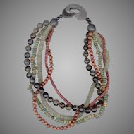 MONIES Dramatic Multi-Strand Necklace, Stone, Horn, Wood
