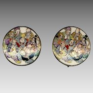 Highly Detailed Satsuma Porcelain 7 Gods Screwback Earrings