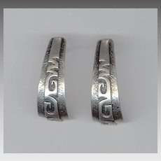 Elegant Signed Native American Sterling Silver Earrings