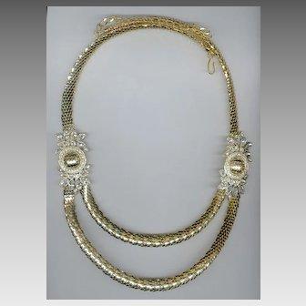 Elegant Whiting Davis Gold Tone Mesh Belt with Rhinestone Embellishments MINT