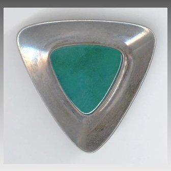 Sleek Modernist Signed N.E. From Denmark Sterling Silver Chrysoprase Pin