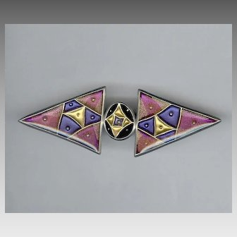 Artisan Signed Colorful Bold Modernist Style Triangle Pin