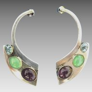 Modernist Sterling & Multi-Colored Cabochon Earrings Mike Smith Navajo