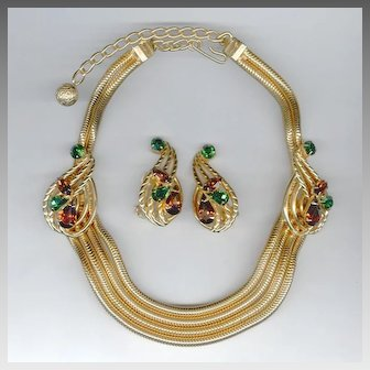 Elegant Signed Hobe Snake Chain Necklace and Earrings Set