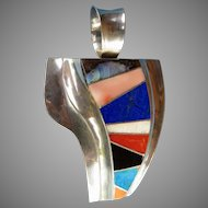 Huge Signed Franklin Carrillo Native American Sterling Silver Pendant, Multicolored Stone Inlay