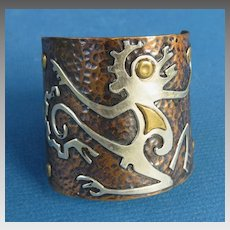 Huge Mixed Metal Cuff Bracelet Mayan Figural Design