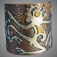 Huge Mixed Metal Cuff Bracelet Mayan Figural Design