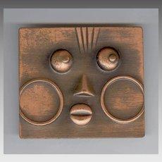 Rare Francisco Rebajes Embossed Copper Face Pin / Brooch
