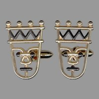 Amusing Caricature Stylized King with Crown Cufflinks