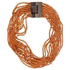 MONIES Multi-Strand Orange Glass Bead Necklace, Wood Clasp