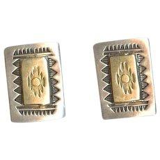 Elegant Signed Navajo Artist Troy Laner 14K Gold & Sterling Silver Cufflinks