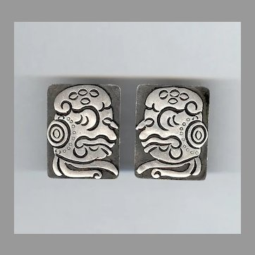 LOS BALLESTEROS Sterling Silver Earrings WEIRD Stylized Aztec Face
