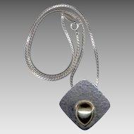 Elegant Modernist Blackinton Sterling Silver & 14K Gold Pendant