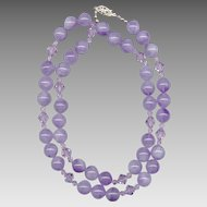 Lovely Lavender Amethyst Beads with Faceted Crystal Spacers