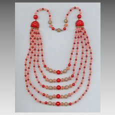 Eye-Popping Art Deco Czech Multi-Strand Glass Bead Necklace
