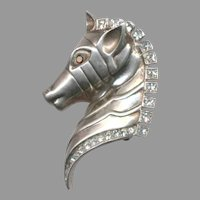 Stylized Cast Sterling Silver Horse Head Pin