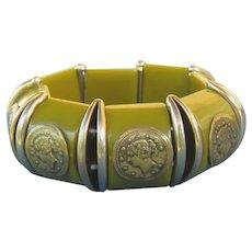 Cool Vintage Green Bakelite Stretch Bracelet