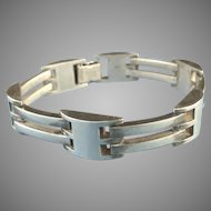 Heavyweight Modernist Style Sterling Silver Bracelet Signed