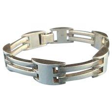 Heavyweight Modernist Style Sterling Silver Bracelet Signed