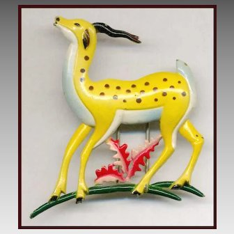 Elegant ART DECO Multi-Color Enameled Gazelle Fur Clip