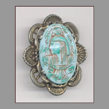EGYPTIAN Revival Molded Glass Pin / Pendant