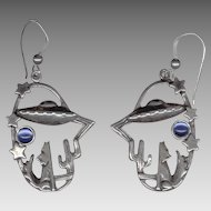 Too Cool Sterling Silver Pierced Earrings - Coyote Howling at a Flying Saucer