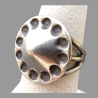 MODERNIST Peaked & Decoratively Stamped Sterling Silver Ring