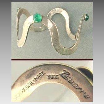 POUL SVARRE Denmark Modernist Hinged Bangle Bracelet 900 Silver