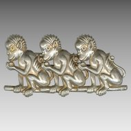 Huge Weird Vintage Pot Metal Three Monkeys Pin