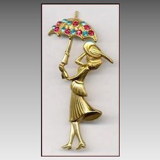 CORO Figural Lady With Umbrella Pin