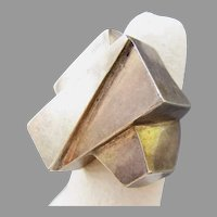 Cubist Style Sterling Silver Ring