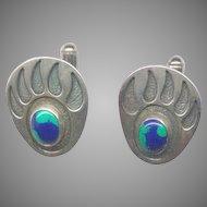 Signed Sterling Silver Bear Paw Cufflinks