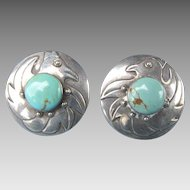 Beautiful Layered Sterling Silver Bird & Turquoise Cabochon Earrings for Pierced Ears