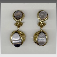 Elegant FRENCH True Poured Glass Clip Back Earrings