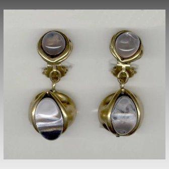 Elegant FRENCH True Poured Glass Clip Back Earrings