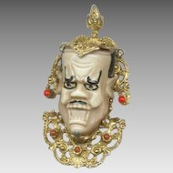 HUGE Scary Mask / Face Pin Gold Tone Finish