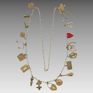 Novelty Long Brass 20 Charms Necklace