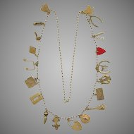 Novelty Long Brass 20 Charms Necklace