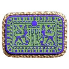 MARVELLA Egyptian Revival Cobalt Glass Pin Brooch