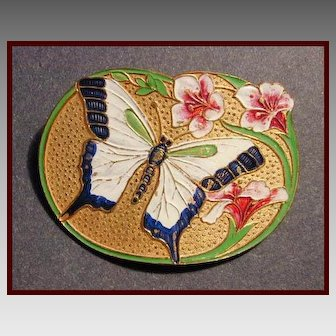 Charming Art Nouveau Style Enameled Butterfly & Lily Pin