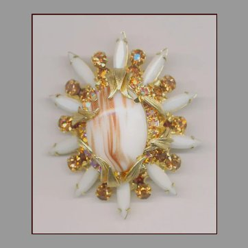 Brilliant Juliana Gold & White Pin / Brooch