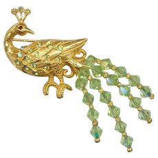 Elegant KRAMER Peacock Pin with Faceted Crystal Tail MINT