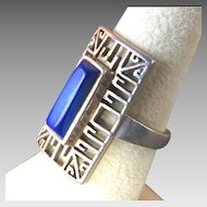 MODERNIST Style Sterling Silver & Lapis Ring