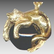 Elegant Joan Rivers Golden Cat Pendant Necklace