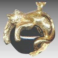 Elegant Joan Rivers Golden Cat Pendant Necklace