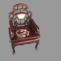 Set of Three Miniature Doll's Armchairs Hardwood Mother of Pearl Inlay