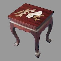 Pair of Two Miniature Doll's End Tables Hardwood Mother of Pearl Inlay