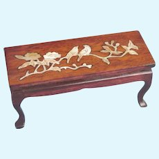 Elegant Miniature Doll's Coffee Table Hardwood Mother of Pearl Inlay
