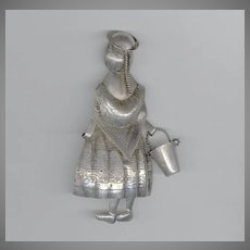 Charming 3 Dimensional Silver Mexican Lady With Bucket Pin