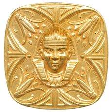 Huge Miriam Haskell Egytian Revival King Tut Pin